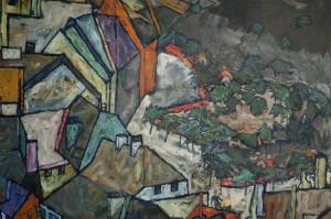 Egon Schiele, Stadtende (Der Häuserbogen III), 1917, Foto: UMJ / N. Lackner