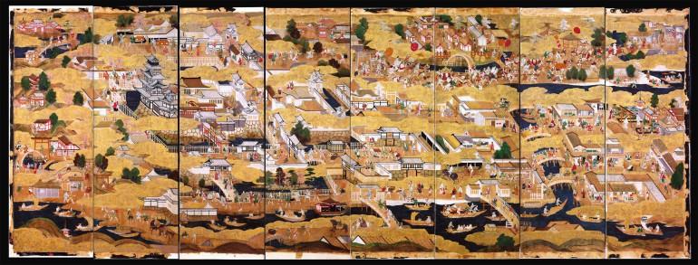 Die acht Bahnen des Paravents zeigen Schloss und Stadt Ôsaka um 1600 Foto: Universalmuseum Joanneum / Nicolas Lackner