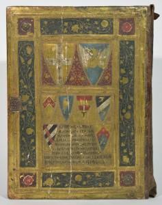 Gefälschter Bucheinband, Rückseite mit Wappen; angeblich Siena 1454, jetzt Icilio Federico Joni (ca. 1866–1946) zugeschrieben. Kulturhistorische Sammlung, Museum im Palais, Inv.-Nr. 14085; Foto: UMJ / Valentin Delić