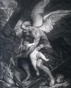 """James McArdell (1728–1765), """"Die Zeit beschneidet der Liebe die Flügel,"""" nach Antonis van Dyck, Schabblatt, 45,8 x 35,2 cm, Alte Galerie, Inv.-Nr. AG.K. 526"""