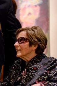 """Maria Lassnig anlässlich der Eröffnung ihrer Ausstellung """"Der Ort der Bilder"""" in der Neuen Galerie Graz, 2012; Foto: UMJ / N. Lackner"""