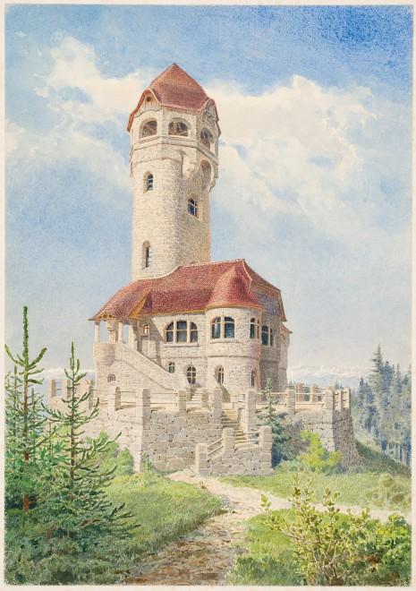 """Ludwig Muhry, """"Bismarckturm"""" auf dem Plabutsch, Nicht ausgeführter Entwurf, Gouache/Karton, (Leihgabe des GrazMuseums)"""