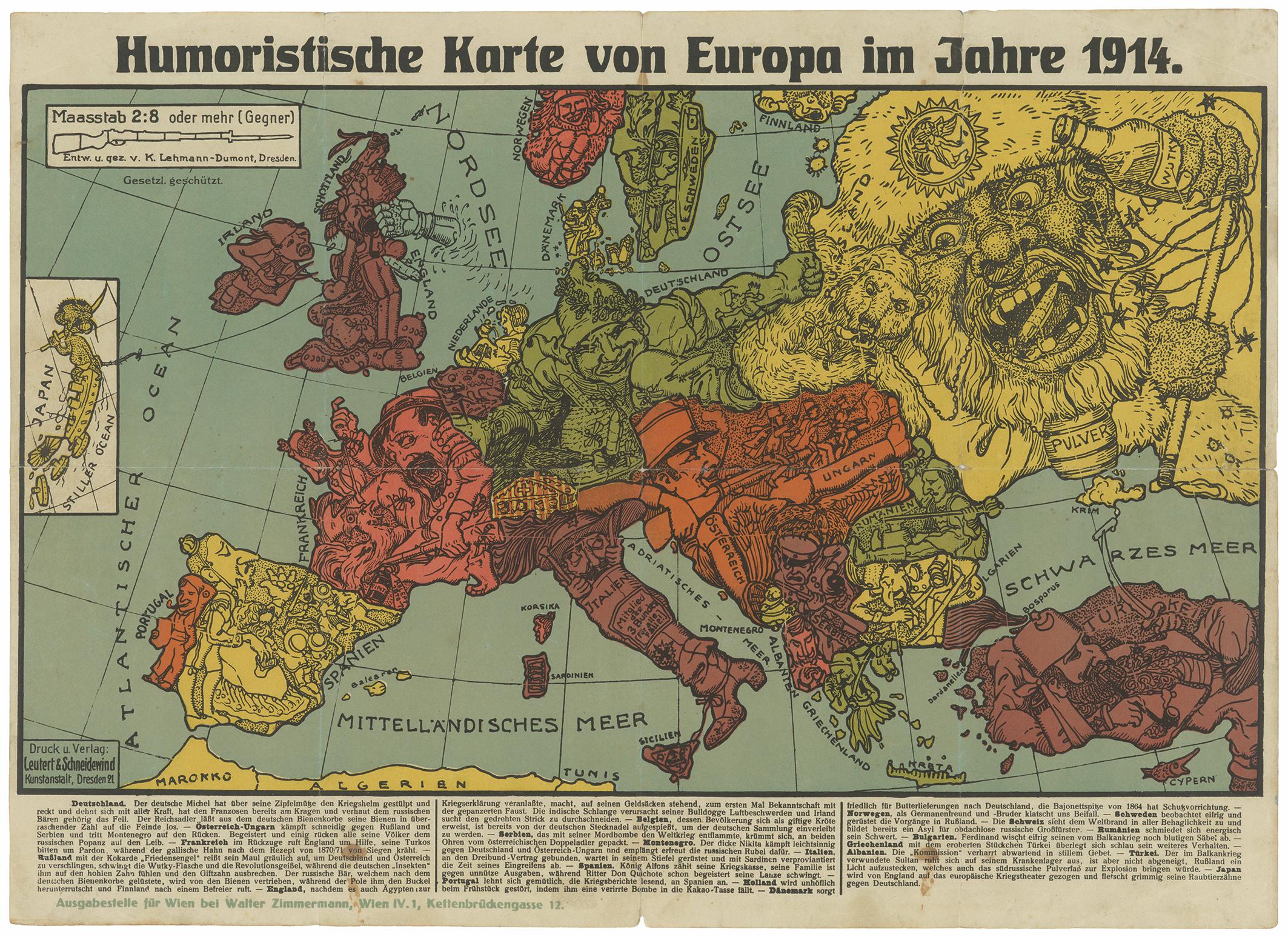 Humoristische Karte von Europa im Jahre 1914 (Leihgabe des Stadtmuseums Judenburg)