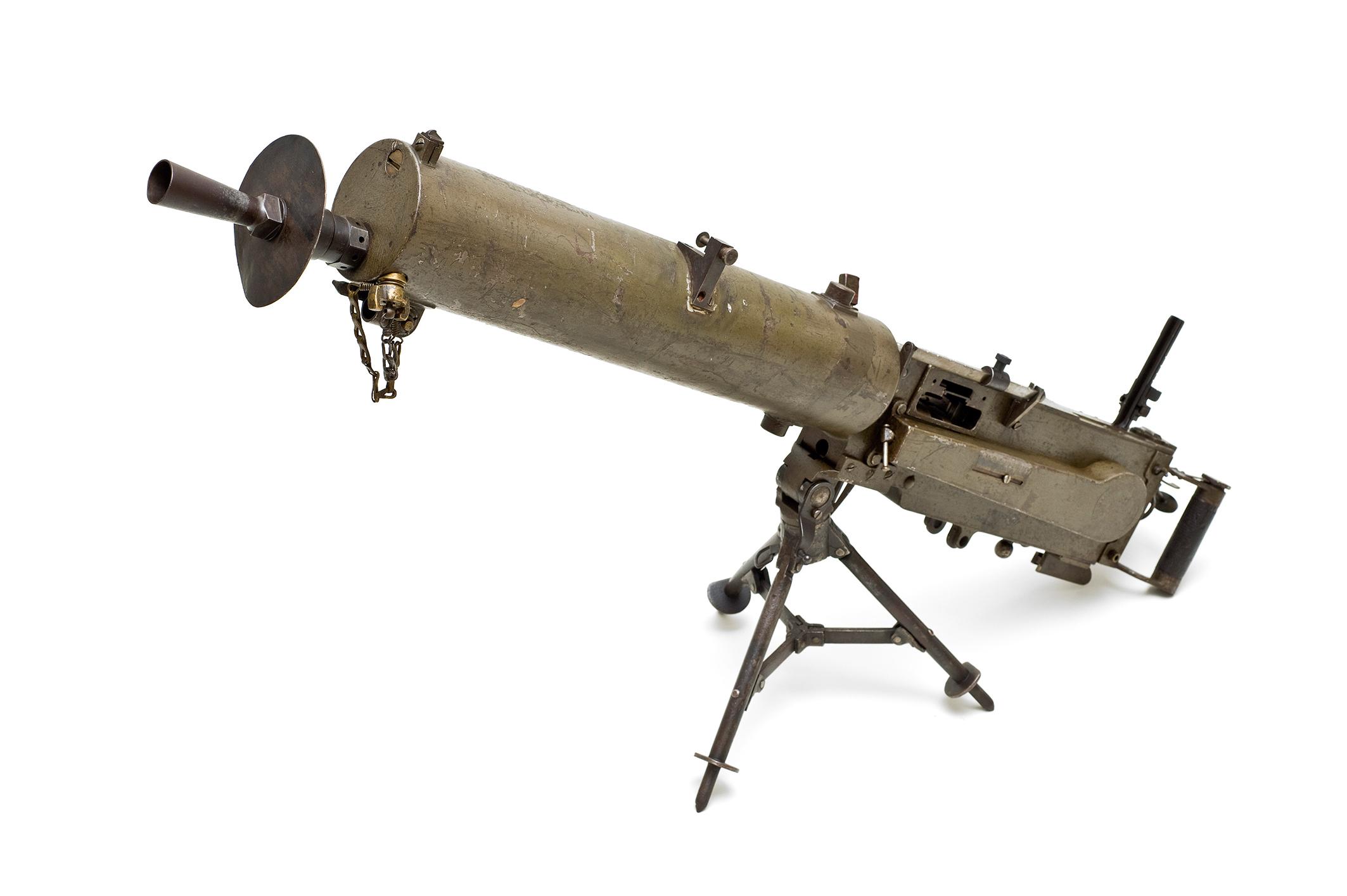 Deutsches Maschinengewehr, Muster 1908 mit Gurttrommelansatz mit österreichischem Dreibein, Berlin, 1915, GrazMuseum