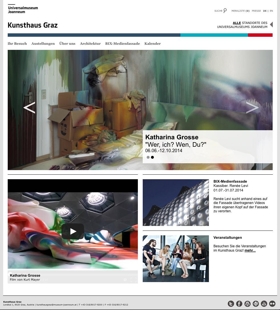 Screenshot der neuen Website, Kunsthaus Graz