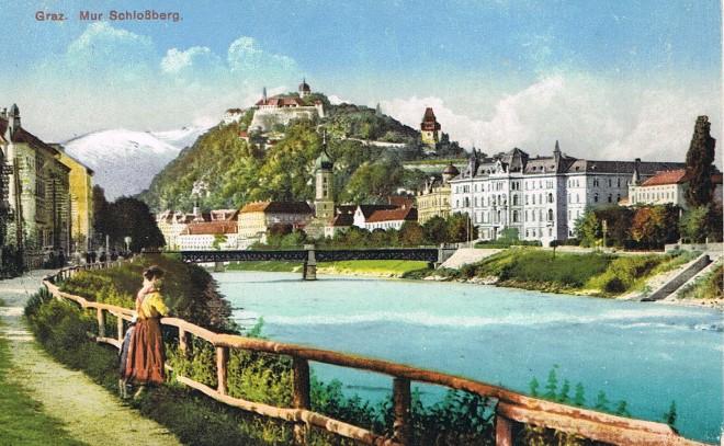 Postkarte, Graz. Mur Schloßberg, 1925, Universalmuseum Joanneum/Museum im Palais
