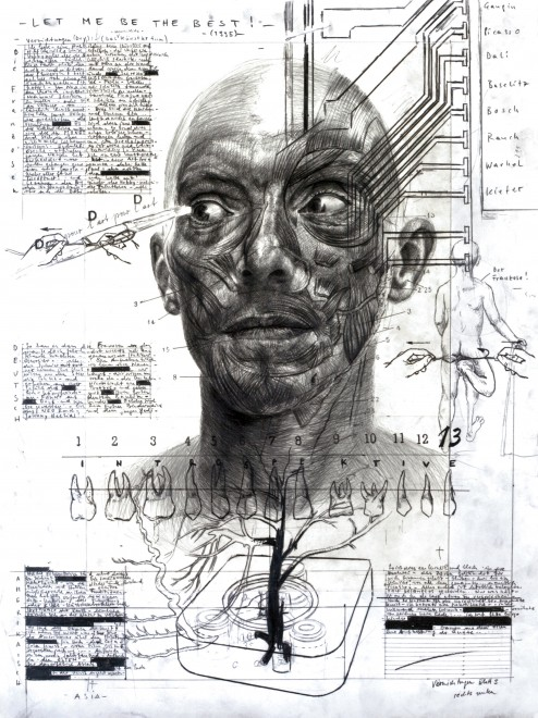 """TOMAK, """"Bild 3 aus Zyklus 6: Vernichtungen"""", 2011, Bleistift auf Papier, Courtesy des Künstlers"""