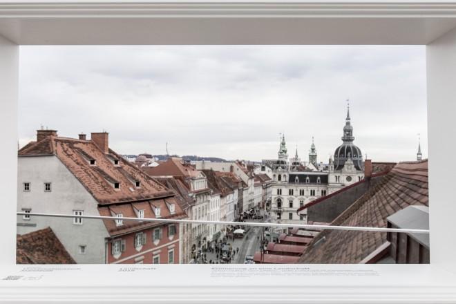 Sichtfenster auf der Dachterrasse von Kastner & Öhler; Foto: Nikola Milatovic