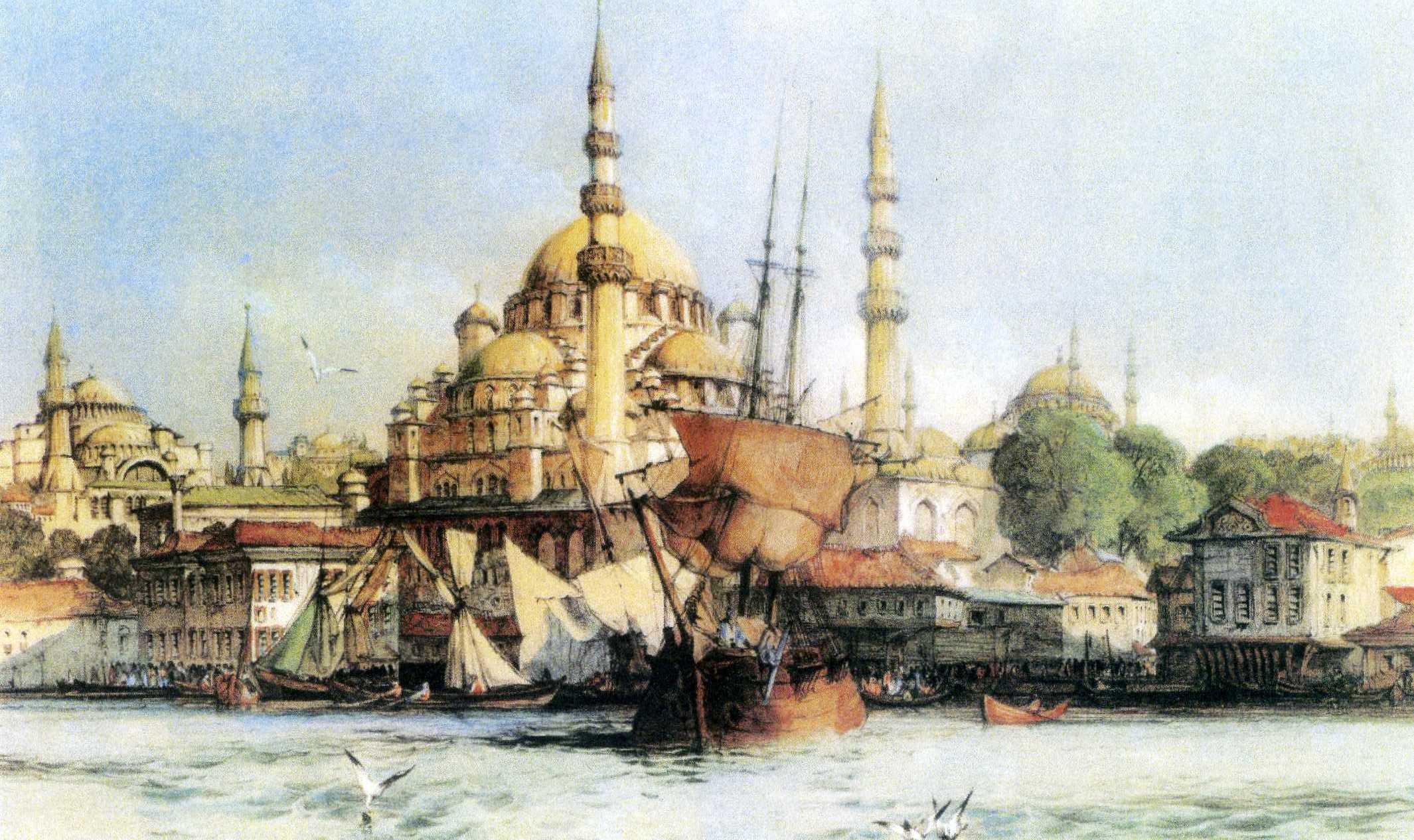 Konstantinopel. Moschee Yeni Jami und Hagia Sophia, John F. Lewis, Lithographie (nach einem Gemälde von Coke Smith), 1835, Privatbesitz, Graz