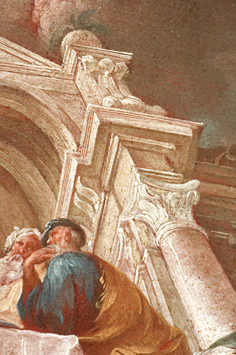 """Süddeutsch, (AG Inv.-Nr. 897): """"Die Hochzeit zu Kana"""". Detail: die Kanten der Säulen und des Gebälks sind in die feuchte Farbschicht geritzt worden, so dass die rötlich-braune Grundierung durchscheint; Foto: Paul-Bernhard Eipper"""