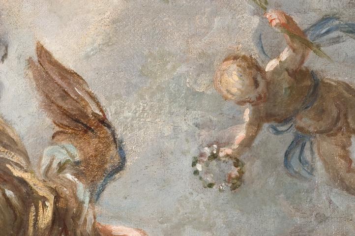 """Abb.1: Giuseppe Passeri (AG Inv. Nr. 966): """"Maria in der Glorie mit Joachim und Anna"""". Detail mit einem Pentimenti: der Flügel des Engels links zeigte ursprünglich in Richtung Blütenkranz; Foto: Paul-Bernhard Eipper"""