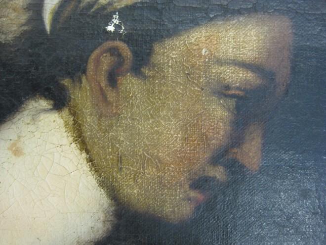 """Anonym: """"Samson und Dalila"""", Öl/Leinen, AG Inv.-Nr. 1195, vor der Restaurierung; Foto: Paul-Bernhard Eipper"""