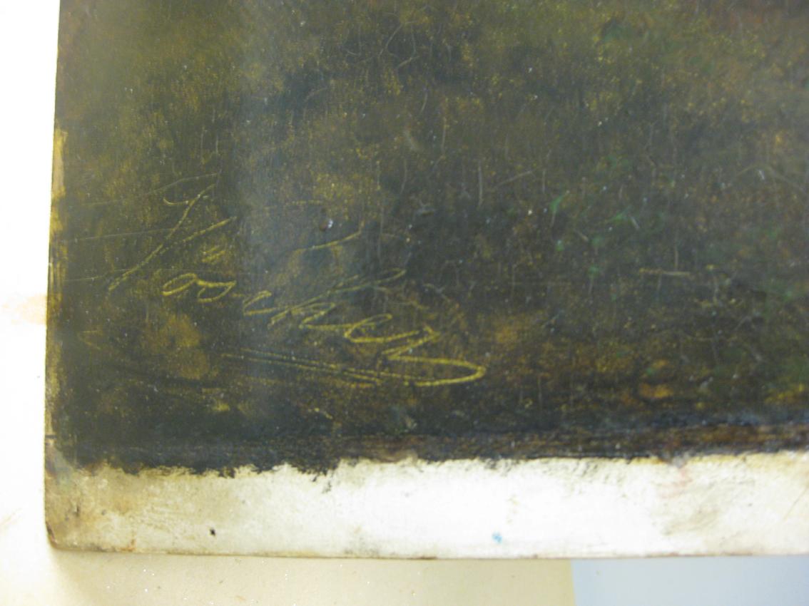 """In die nasse Ölfarbe geritzte Signatur bei Leopold Heinrich Voescher (1830–1877), """"Landschaft aus dem oberen Etschtal"""", um 1870, Öl/Holz, Neue Galerie Graz, Universalmuseum Joanneum, Graz; Foto: Paul-Bernhard Eipper"""