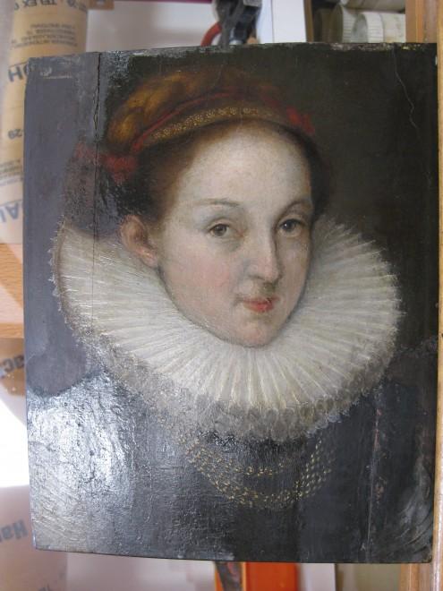 """Anonym: """"Euphrosina Bimlin"""", 1594, Öl auf grundiertem Holz, Alte Galerie, ca. 1900-2008 mit Übermalung, Foto: Universalmuseum Joanneum/P.-B. Eipper"""