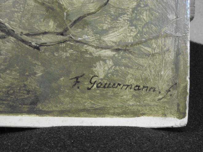 """Friedrich Gauermann (1807-1862): """"Eber, von Wölfen überfallen"""", 1844, Öl/Eiche, NG Inv.-Nr. I/497, Neue Galerie am Universalmuseum Joanneum, Graz: Aufgemalte Signatur, Foto: Universalmuseum Joanneum/P.-B. Eipper"""