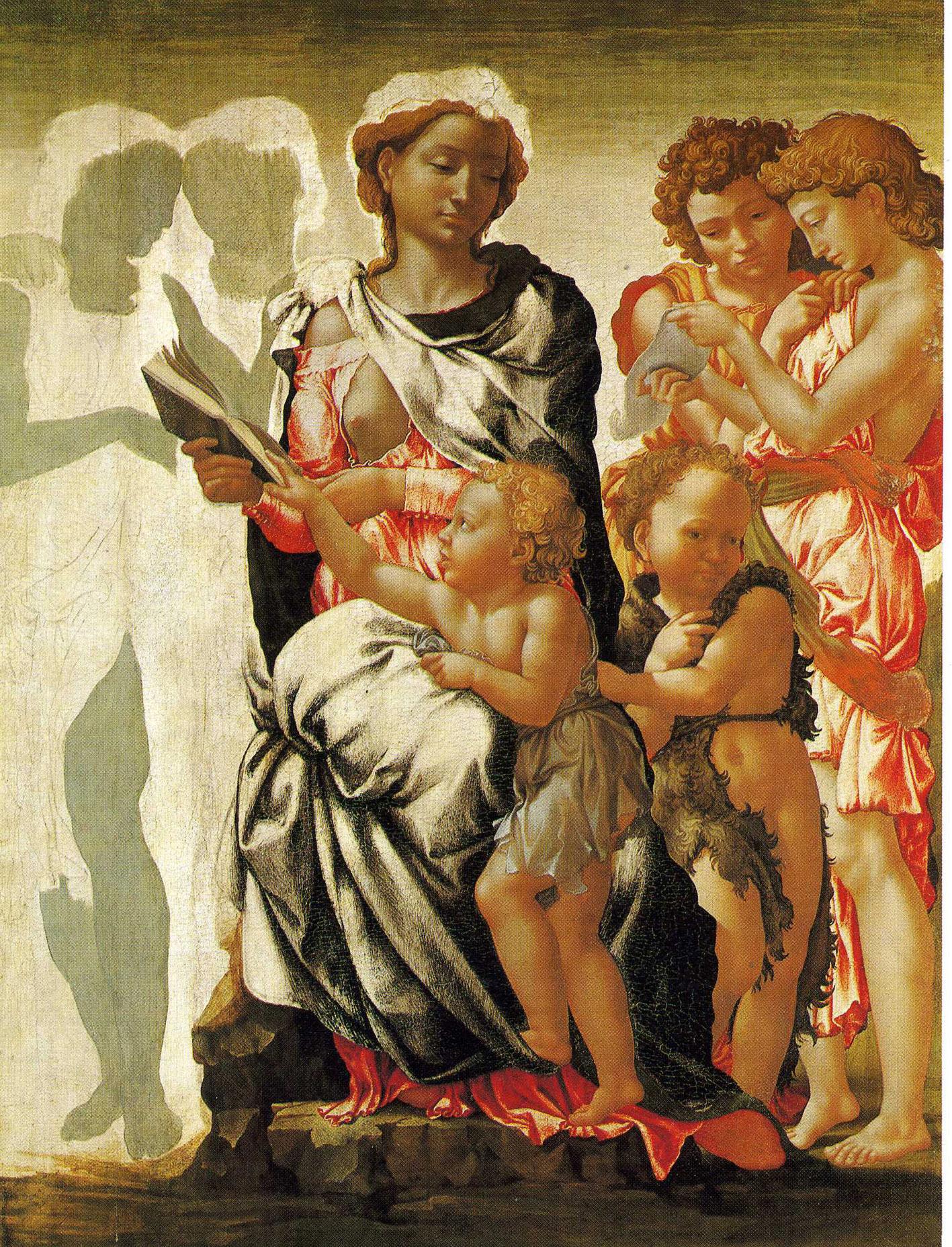 """Michelangelo Buonarroti (1475–1564): """"Maria mit Jesus- und Johannesknaben (Madonna Manchester)"""", unvollendet, um 1497, Tempera/Holz, mit partieller Untermalung bei Inkarnatpartien auf weißer Grundierung (Abb.: National Gallery, London; wikimedia commons)."""