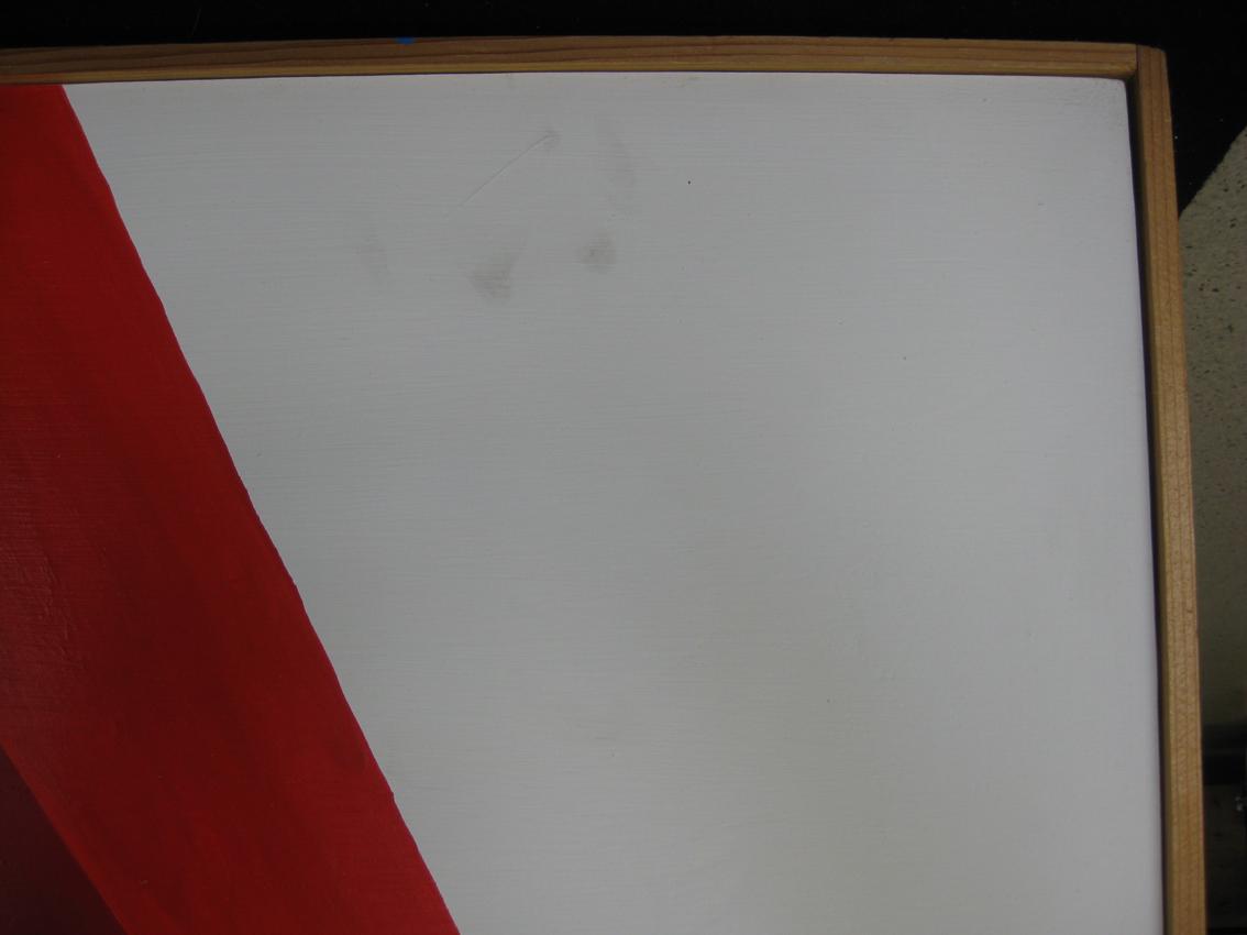Zeitgenössisches Gemälde: auf den empfindlichen Oberflächen ist Schmutz sofort sichtbar: Fingerabdruck; Foto: Paul-Bernhard Eipper
