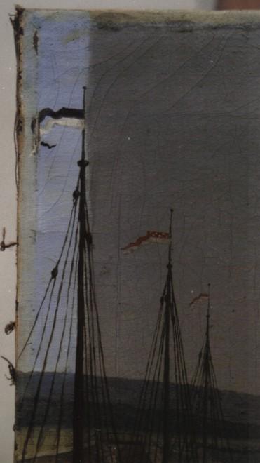 """Anonym, """"Ansicht eines Hafens"""", Öl/Lwd., Detail: während der Firnisabnahme, links vom Schiffsmasten nach Firnisabnahme mit Isopropanol; Foto: Paul-Bernhard Eipper"""