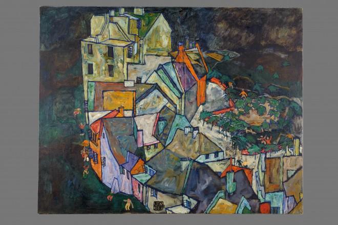 """Egon Schiele: """"Stadtende/Häuserbogen III"""", 1918, mit Signatur"""
