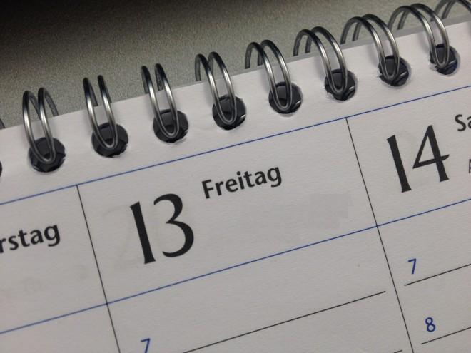 Das Datum sticht ins Auge: Freitag, der Dreizehnte. Foto: Elisabeth Kure