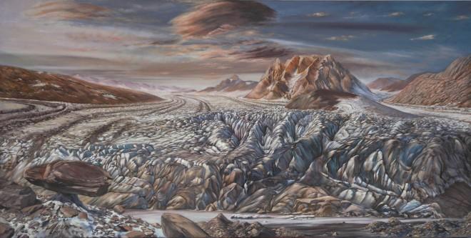 Fritz Messner, Der Ennstalgletscher zieht sich zurück, 2016 Öl auf Leinwand Das Bild zeigt den Gletscherstand im Ennstal vor ca. 18.000 Jahren (der Kulm schaut bereits heraus)
