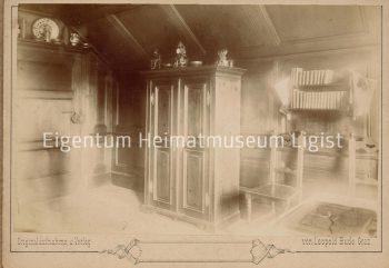 """Leopold Bude, """"Zimmer der Julie Seitle von Seltei in der """"Labitschburg"""" in Ligist"""", vor 1900, Archiv des Museums in Ligist"""