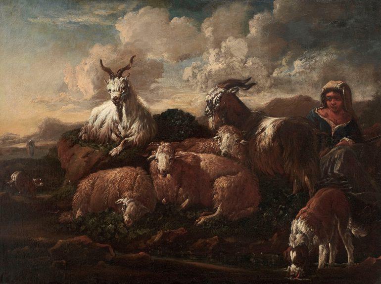 Philipp Peter Roos, genannt Rosa da Tivoli, (1657 – 1706), Hirtenmädchen mit Herde, Öl auf Leinwand, Alte Galerie, Inv.-Nr. 476, Foto: Universalmuseum Joanneum