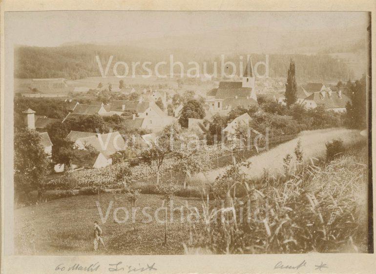 Konrad Kaitna (Kajtna), Blick auf Ligist mit Pfarrkirche, vor 1900, Multimediale Sammlungen/Universalmuseum Joanneum