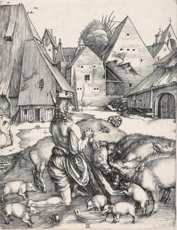 Albrecht Dürer (1471 – 1528), Der verlorene Sohn, um 1496, Kupferstich, Alte Galerie, Inv.-Nr. AG.K. 20, Foto: Universalmuseum Joanneum