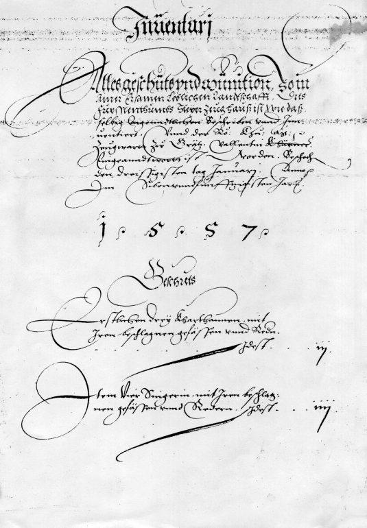 Fol. 2 des Grazer Zeughaus-Inventars von 1557, Original im Steiermärkischen Landesarchiv, Foto: UMJ