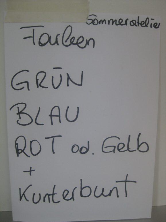Sommeratelier-Farben-Plan