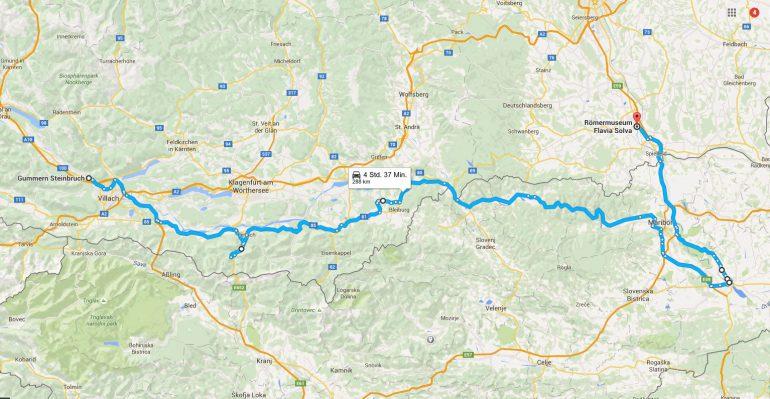 Fußweg-Strecke vom Steinbruch Gummern der Drau entlang bis Ptuj/Poetovio und schließlich nach Flavia Solva bei Leibnitz. Quelle: Google Maps.