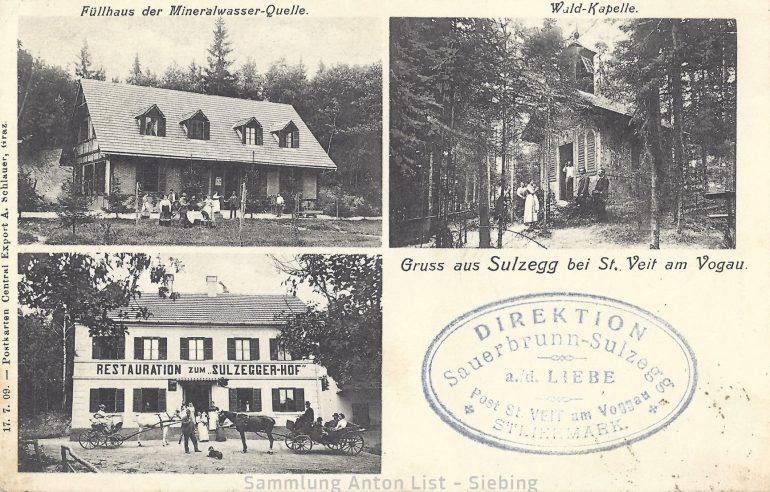 """Foto: Postkarte, Schlauer A., Sauerbrunn """"Sulzegg an der Liebe"""" mit Restauration (heute aufgelassen), um 1910;"""