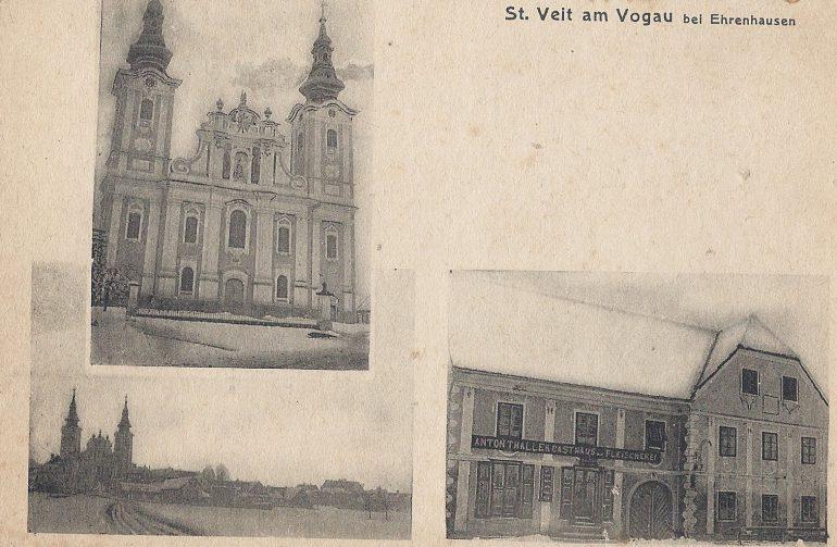 Foto: Postkarte (Winteraufnahme), unbekannter Fotograf, Gasthof und Fleischerei Anton Thaller, St. Veit am Vogau (heute Thaller's Gasthof zur Traube), um 1920