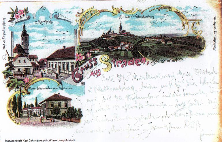 Postkarte (Lithografie), Kunstanstalt Karl Schwidernoch, Wien-Leopoldstadt, Straden - Johannisbrunnen, 1898, Archiv MG Straden