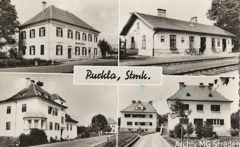 Postkarte, Purkla mit Bahnstation, Foto Bund (Radkersburg), um 1965, Archiv MG Straden