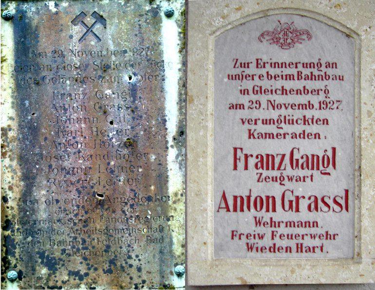 Gedenktafel an der Unfallstelle, rechts Gedenktafel der FF Wieden-Hart, Fotos Christa Schillinger