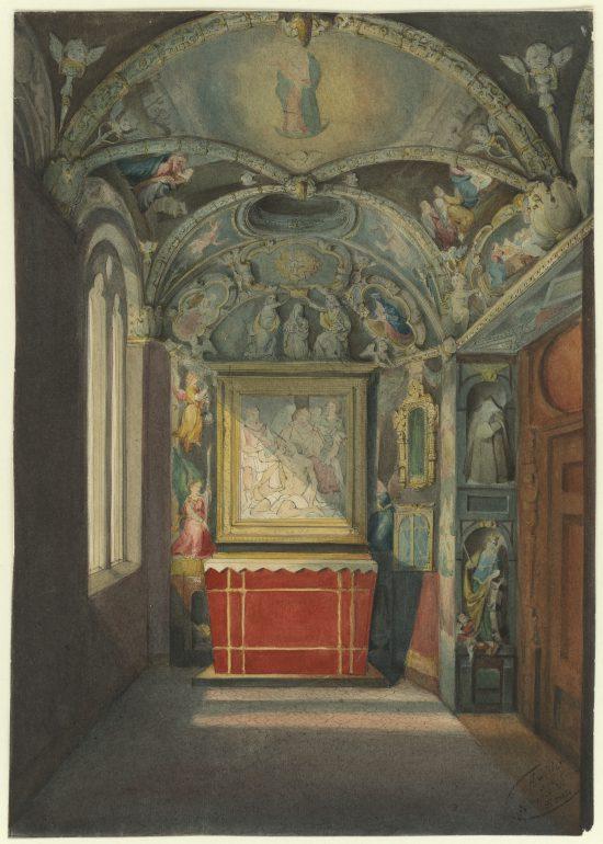 Hofkapelle: Burgkapelle, Aquarell, 1855, Steiermärkisches Landesarchiv, Ortsbildersammlung (StLA-OBS-Graz-II-F-2-A-5-002), Reproduktion: Steiermärkisches Landesarchiv