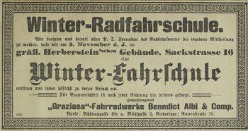 """Winter-Radfahrschule"", in: ""Grazer Tagblatt"", 31. Oktober 1897."