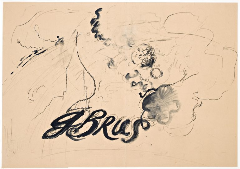 Günter Brus, Ohne Titel (G. Brus), 1970er-Jahre,´Bleistift und Tusche auf Papier, 57,5 x 80 cm, diethARdT collection, Foto: Universalmuseum Joanneum/N. Lackner