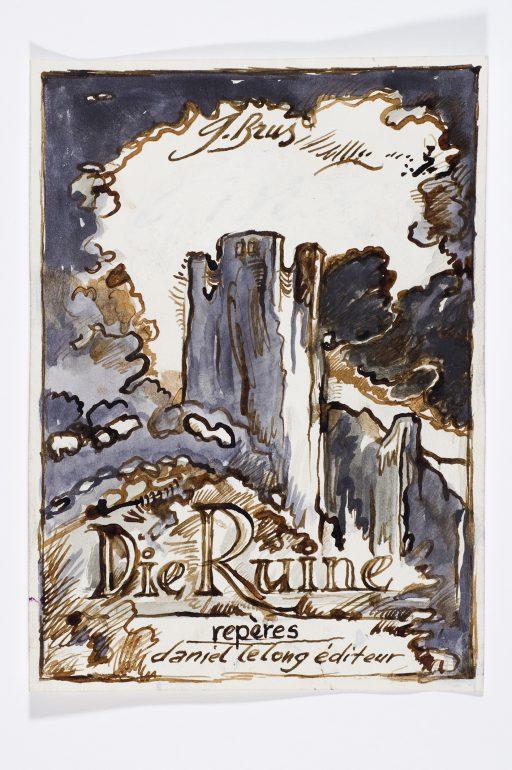 """Günter Brus, """"Die Ruine"""", 1984, Schwarze und braune Tusche auf Papier, 35-teilig, je 21 x 15 cm, Privatbesitz"""
