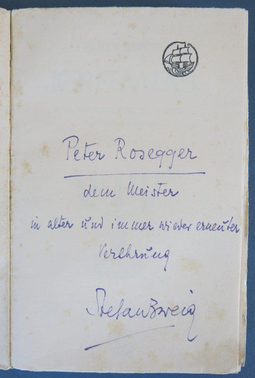 Widmung Zweigs für Rosegger. In: Stefan Zweig: Jeremias. Eine dramatische Dichtung in neun Bildern. Rosegger-Museum Krieglach