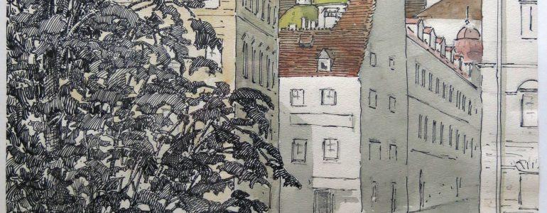 """""""Skizze von der Oper aus: Roseggers Wohnung, hinten Mausoleum, Schloßberg. Brunnlechner"""" Rosegger wohnte 34 Jahre im 3. Stock der Burggasse 16, gegenüber der Grazer Oper"""