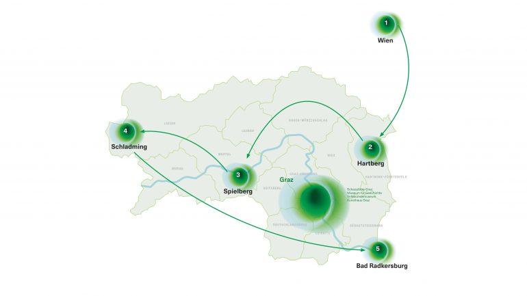 Die Karte zeigt, dass der mobile Pavillon der neuen Landesausstellung in Wien, Hartberg, Schladming, Bad Radkersburg und Spielberg halt macht.