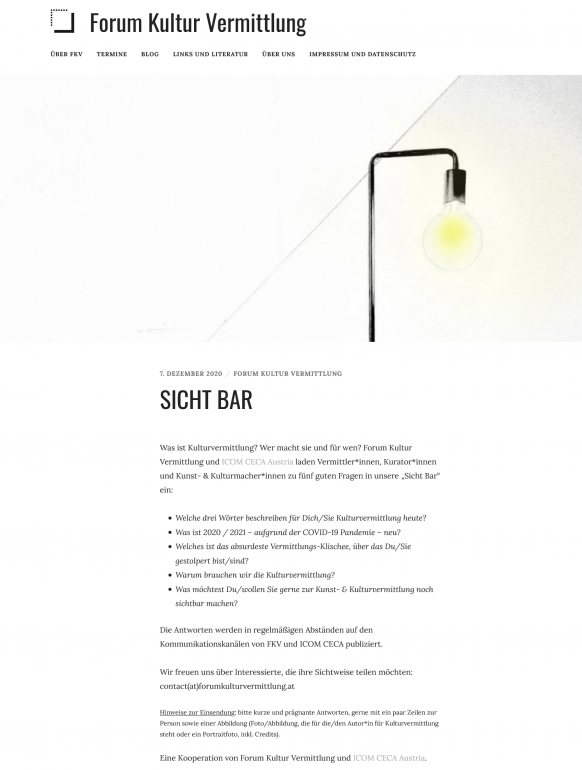 Screenshot Forum Kultur Vermittlung