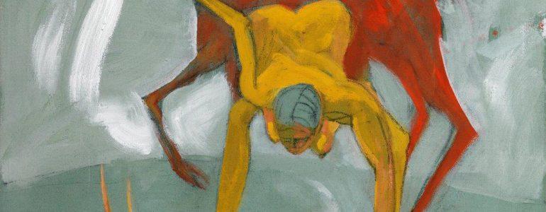 Ein Gemälde zeigt eine Jägerin und einen Hirsch in Gelb-, Rot- und Blautönen von Brettschuh.