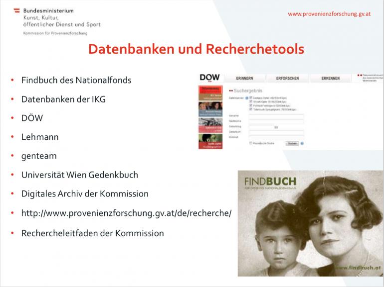Auszug aus dem Vortrag von Monika Löscher zum Thema Provenienzforschung, © Monika Löscher