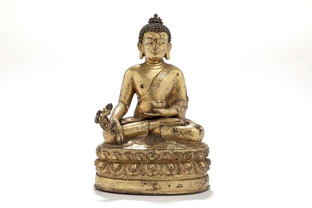 Thronender Buddha, Bronze, China, 19. Jh., KHS, Inv.-Nr. 19452