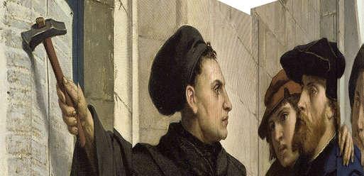 Martin Luthers Thesenanschlag vom 31.10.1517, Gemälde von Ferdinand Pauwels, 1872, Wartburg,