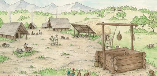 Zeichnung einer bronzezeitlichen Siedlung,